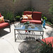 backyard living space+patio furniture+coffee table