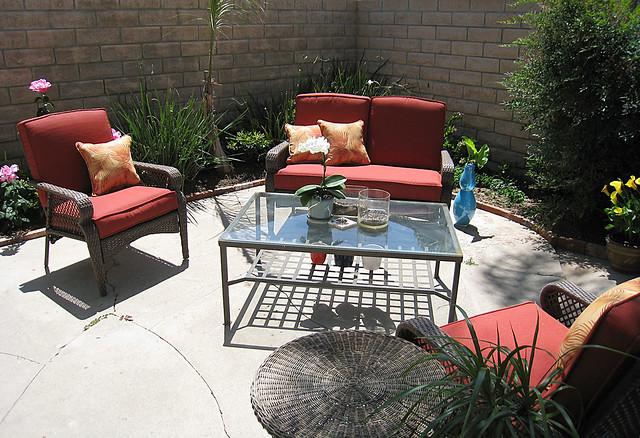 backyard living space patio furniture coffee table