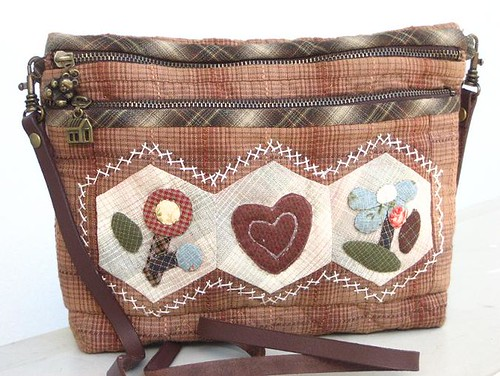 handmade applique quilted sling bag