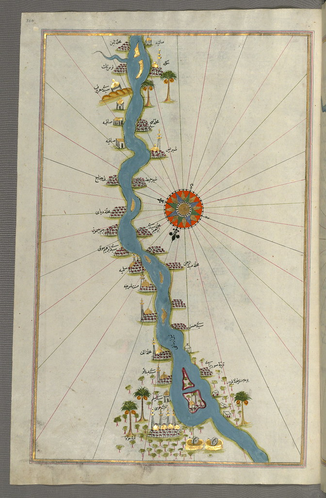 Illuminated Manuscript, Map of oases and villages along the river Nile as far as Sīdī Mūsá from Book on Navigation, Walters Art Museum Ms. W.658, fol.310a