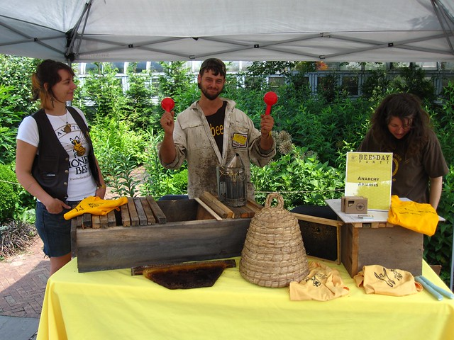 Anarchy Apiaries teaches Bee-Day visitors the basics of beekeeping. Photo by Rebecca Bullene.