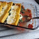Polenta, gebackene mit Spinat & Ziegenkäse