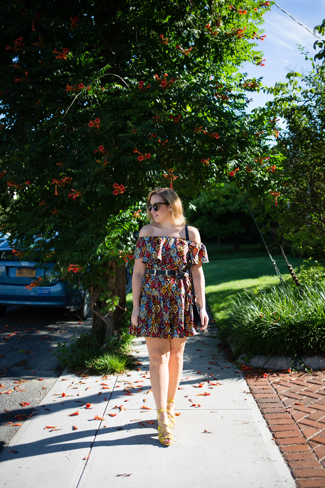 Why Printed Dresses are Better than Solids | Colorful Off Shoulder Dress Hastings on Hudson New York