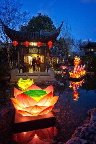 lansu chinese garden portland oregon night dusk lanternviewing pond reflection