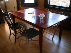 countertop(0.0), billiard room(0.0), billiard table(0.0), recreation room(0.0), floor(1.0), furniture(1.0), wood(1.0), room(1.0), property(1.0), table(1.0), dining room(1.0), wood flooring(1.0), hardwood(1.0), flooring(1.0),