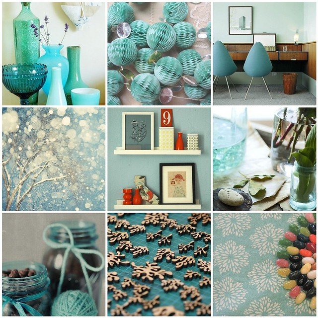 turquoise - Pantone's colour of 2010, Flickr mosaic curated by Emma Lamb