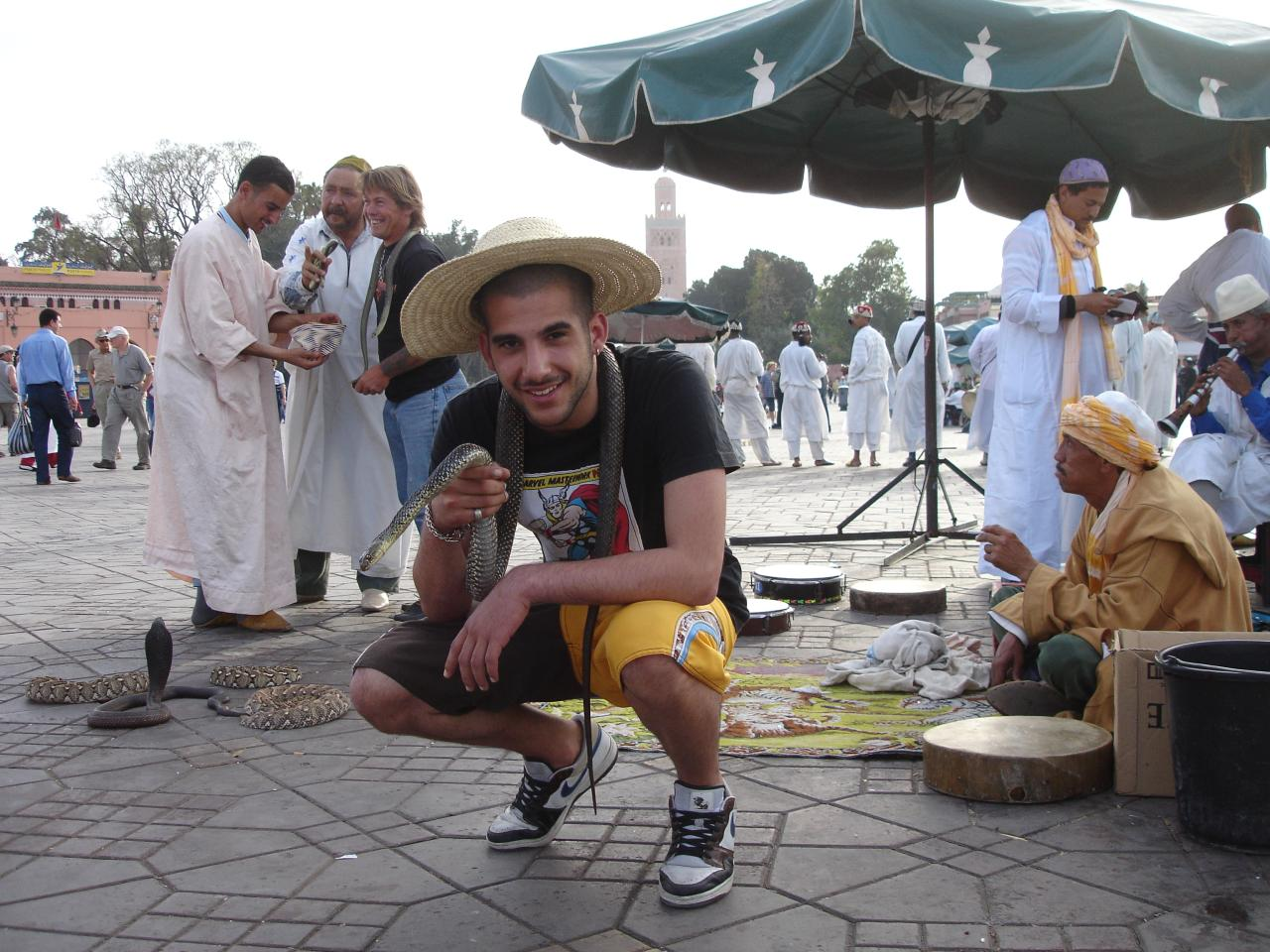 Snake Charmers in Jemaa el-Fnaa square in Marrakech
