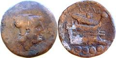 43/3b Luceria L Triens. Italian civic mint. [oooo] / Minerva / L under chin; ROMA / Prow / oooo. RBW 26g18