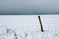 sky snow and fence