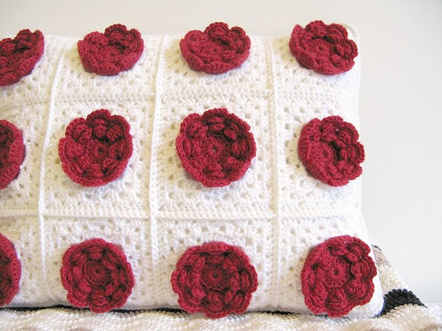 Marilyn - the eternal romantic, crochet flower cushion by Emma Lamb