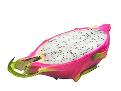 hand(0.0), outdoor shoe(0.0), footwear(0.0), shoe(0.0), produce(0.0), melon(0.0), magenta(1.0), fruit(1.0), food(1.0), pitaya(1.0), pink(1.0),