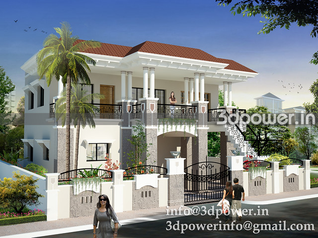 in roof bungalow architectural rendering india bungalow design india