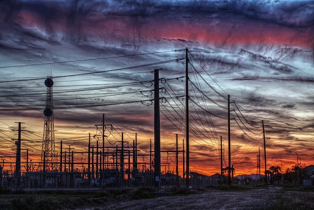 Power Station Sunset in HDR