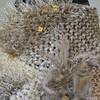 Hand Knit Sassy Wrap Scarf - Ivory Monochrome