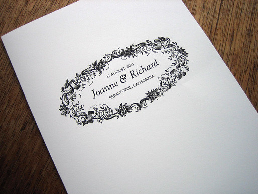 Black and White Printable Wedding Program Cover This is part of a free