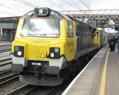 Class 70 001 PowerHaul on Felixstowe-Lawley St working bemuses commuters on platform 10 of Stratford station. 15/4/10