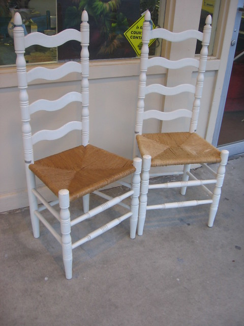 Sold White Ladderback Chairs See Our Ads On Craigslist