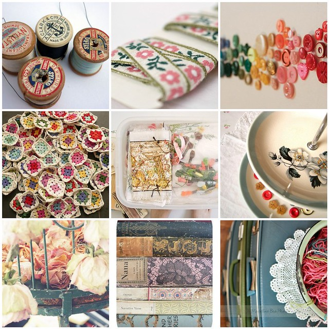 vintage crafting, Flickr mosaic curated by Emma Lamb