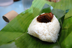 coconut(0.0), baozi(0.0), produce(0.0), steamed rice(1.0), food grain(1.0), rice(1.0), side dish(1.0), food(1.0), dish(1.0), zongzi(1.0), nasi lemak(1.0), cuisine(1.0), glutinous rice(1.0), onigiri(1.0),