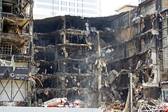 Central World collapsed after the fire in Bangkok, Thailand, in May 2010