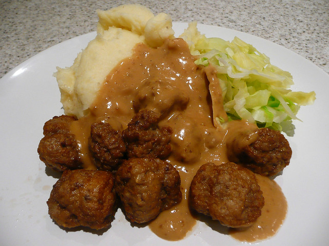 Swedish meatballs, cream gravy, mashed potatoes and steamed cabbage ...