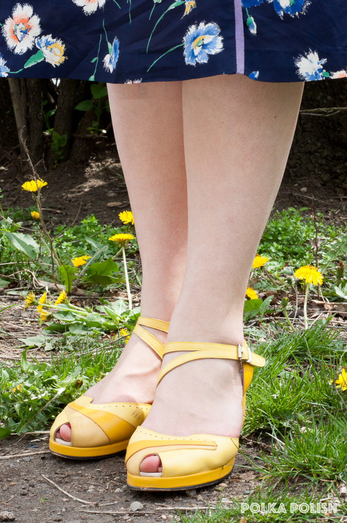 Vintage reproduction 1940s wedges in three shades of yellow by Rocket Originals