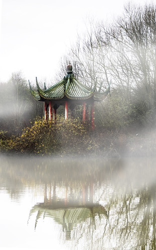 mist lake water fog island pagoda chinese