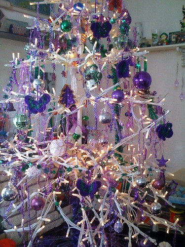 PLEASE VISIT. www.suesfavouritethings.blogspot.com  - Mom's Christmas Tree with my Crocheted Purple and Green Butterflies.