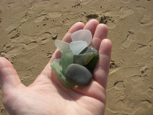 A handful of beach glass