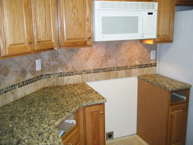 Full Granite Backsplash Kitchen