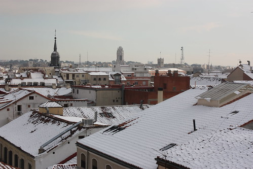 Madrid snowy roofs