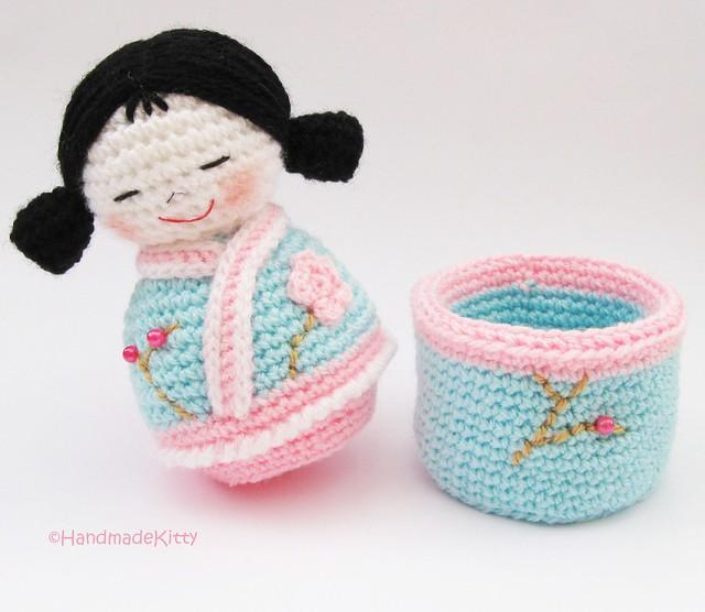 Japanese kokeshi girls jewelry box Amigurumi Crochet ...