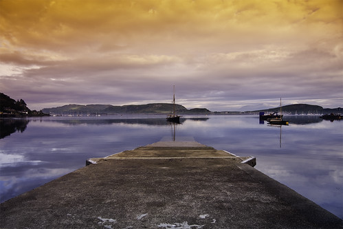 sea orange seascape water june sunrise landscape scotland pier boat dock ship harbour oban