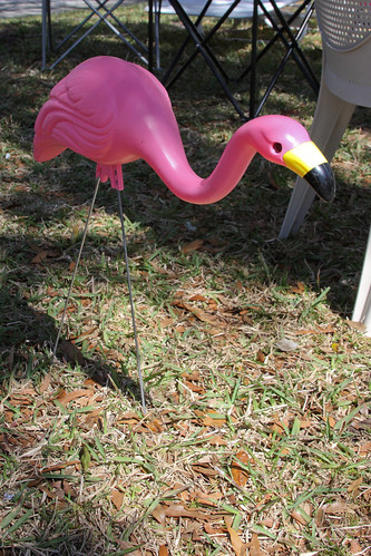 Unusual And Possibly Antique Lawn Ornaments Pink Flamingos