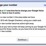 Google Voice number change fee is $10