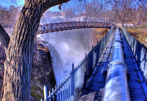 bridge people cliff storm tree nature water canon fence river newjersey flooding power greatfalls pipe nj falls waterfalls treebark paterson hdr noreaster 500d passaicriver photomatix patersonnj passaiccounty thepowerofwater greatfallsofpaterson efs1855mmislens rebelt1i passaicriverflooding