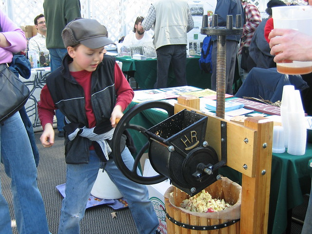 Kids get a kick out of pressing cider at Making Brooklyn Bloom 2010.