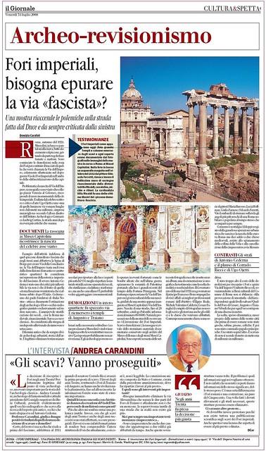 """ROMA - I FORI IMPERIALI: 'UNA PIAGA DEL ARCHEOLOGIA ITALIANA GLI SCAVI INEDITI (1924-2010). Foto: Archeo-rivisionismo Fori Imperiali (...) la via fascista?""""IL GIORN. (31/07/2009)."""