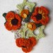 Crochet Orange Poppy Art Nouveau Style Pin