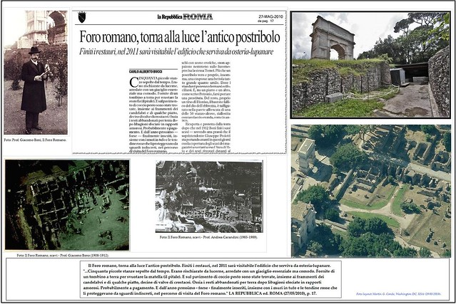 ROME - PROF. GIACOMO BONI, THE ROMAN FORUM (1908-12): THE RESTORATION & REOPENING - THE 'OSTERIA-LUPANARE' / SACRA VIA (2010-11). LA REPUBBLICA (27/05/2010) / THE SUNDAY TIMES (LONDON), (28/12/1998).