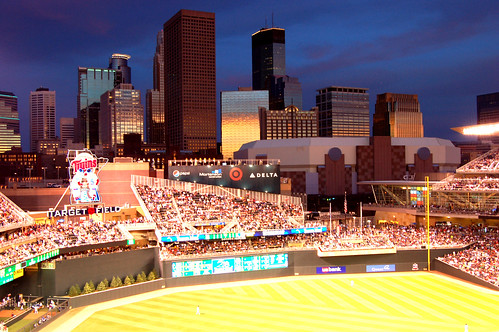 Minneapolis Skyline Over Right Field by Taber Andrew Bain