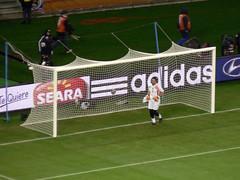 goalkeeper, football player, sport venue, soccer-specific stadium, player, football, net, goal, stadium,