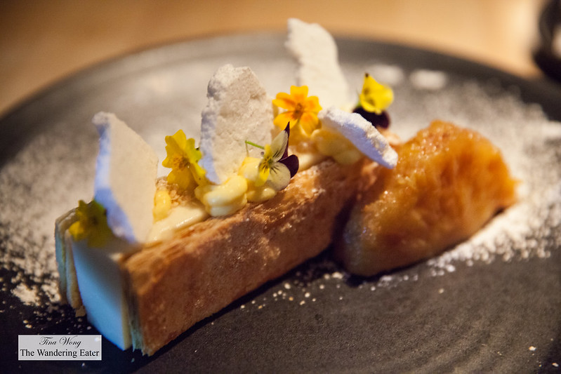 Coconut custard tart, caramelized pineapple, passion fruit cremeux, lime meringue