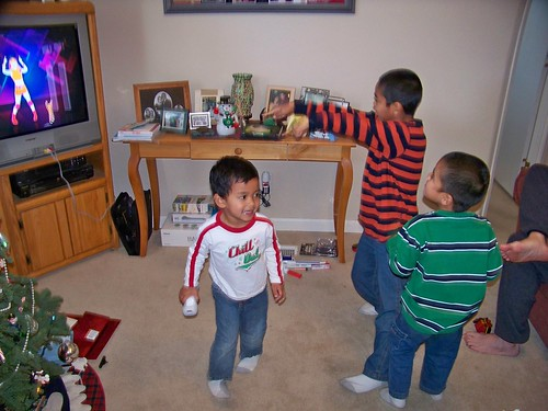 The boys play Just Dance on the Wii