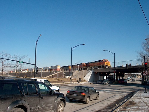 Switching activity on the south hump at the BNSF Railway's Corwith Yard. Chicago Illinois. January 2007. by Eddie from Chicago