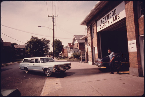 Car Enters the Safety Lane at the Norwood, Ohio, Auto Emission Inspection Station...08/1975
