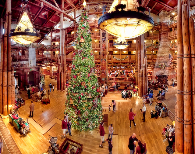 A Panorama of Disney's Wilderness Lodge Lobby