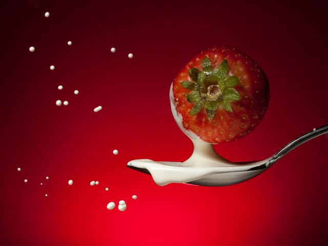 Strawberry splash in a spoon