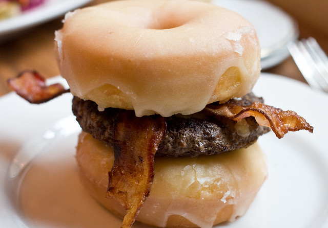 The Luther (bacon cheeseburger on glazed donuts), Tipsy Parson