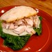 Leftover Roasted Chicken Sandwich w/ Romaine, Lorraine Swiss, & Mayo on Cheddar Biscuits